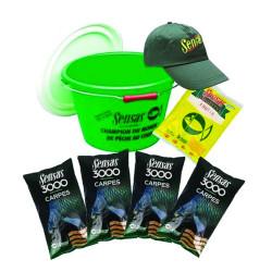 Sensas akční set - kbelík 15l + 4x krmítková směs kapr + posilovač frutix + kšiltovka